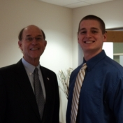 Mr. Coffey with student James Speaks