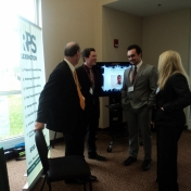 Students Mitchel Blaser and Kaleb Adams visit with Ron Smedley and Lee Ann Lewis