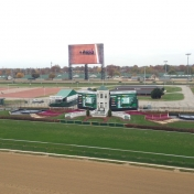 A view from the grandstand at Louisville's Churchill Downs