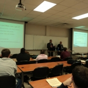 Christopher Clark and David Lucas speak to EKU insurance students